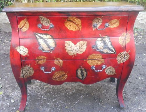 Small Painted Bombe Chest of Drawers